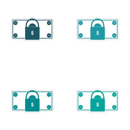 Stylish assembly sticker on paper, bill and lock