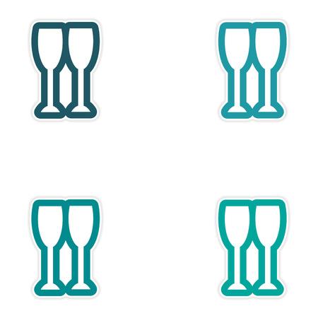uncork: Set oof paper sticker on white background, New glasses