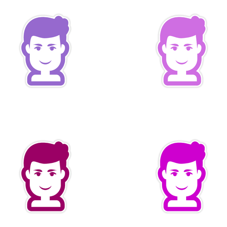 style goatee: Set of paper stickers on white background, mens haircut