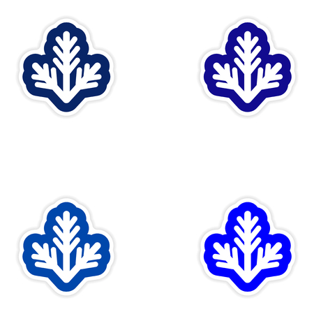 furtree: Set of paper stickers on white background, fur-tree branch