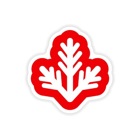 furtree: paper sticker on white background, fur-tree branch Illustration