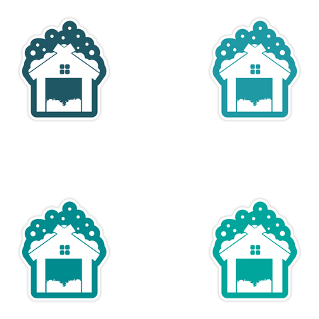 seasoned: Set of paper stickers on white background, barn in snow