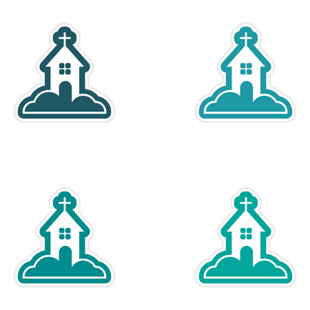 reflexion: Set of paper stickers on white background, Church in snow