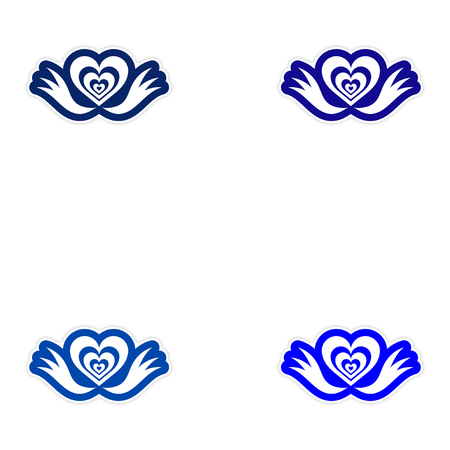 heart with wings: Set of paper stickers on white background, heart wings