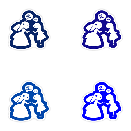 bridesmaid: Set of paper stickers on white background, Bride with friend