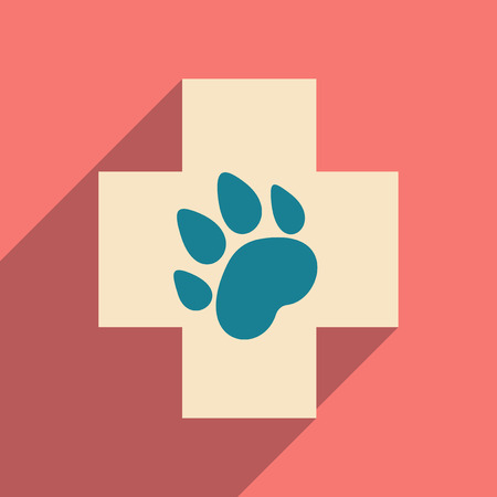 Flat with shadow icon and mobile application, Veterinary Illustration