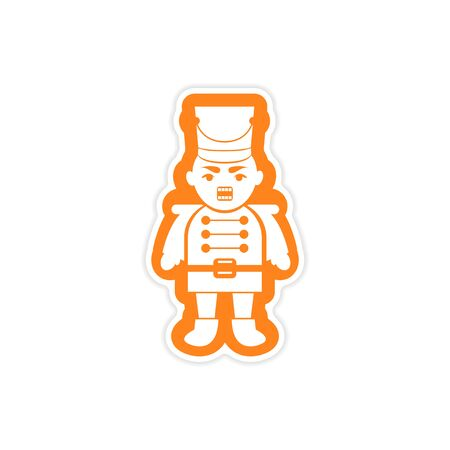 nutcracker: paper sticker on white background, Christmas Nutcracker Illustration