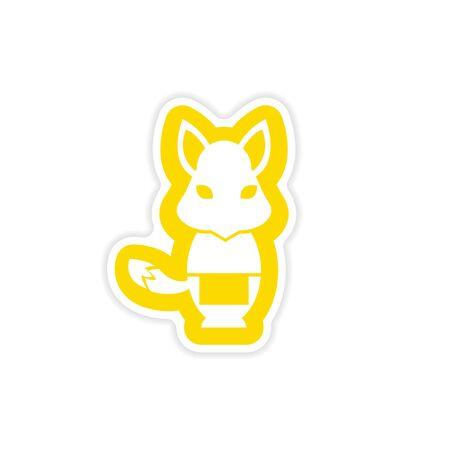 masseur: stylish paper sticker on white background, fox masseur