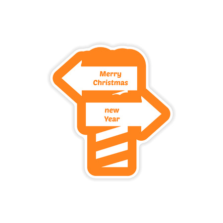 frigid: paper sticker on white background, Christmas New Year signpost