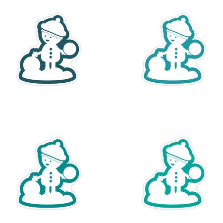palle di neve: Set di adesivi di carta su sfondo bianco, ragazzo che gioca le palle di neve