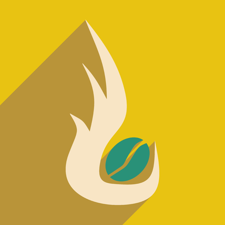 roasting: Flat with shadow icon and mobile application coffee roasting