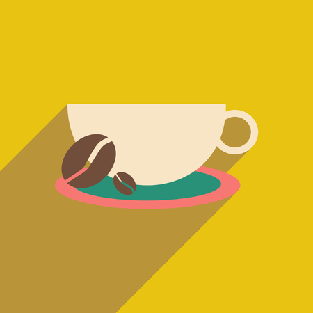 Flat with shadow icon and mobile application demitasse