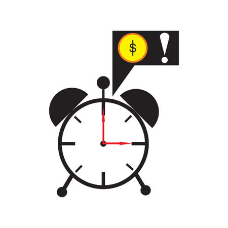 annuity: Modern flat icon alarm clock on white background