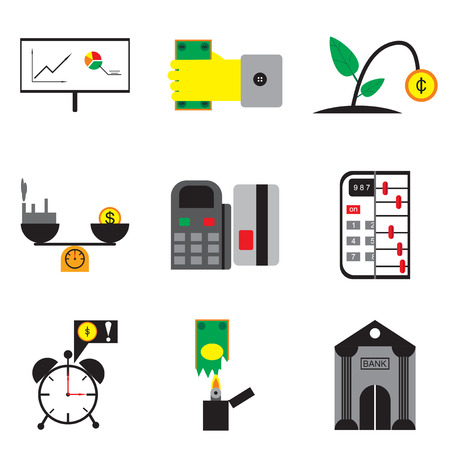 obligatory: Modern collection flat icons economy on white background