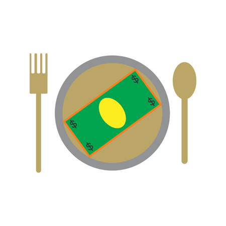besiege: Modern flat icon bill on the plate