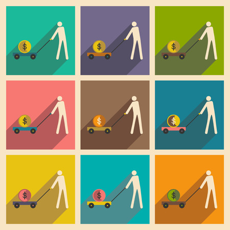 pig iron: Modern flat icons vector collection with shadow Stick Figure economy