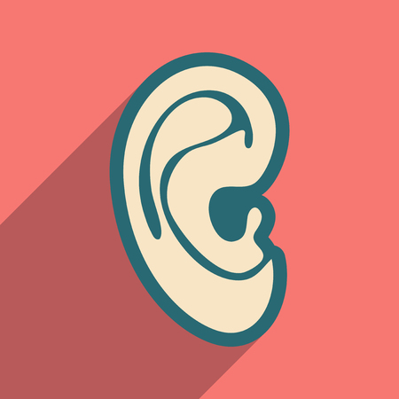 the human ear: Icon of human ear in flat style