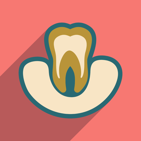 mouth pain: Icon of tooth gums in flat style