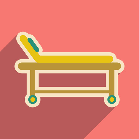 stretcher: Icon of medical stretcher in flat style