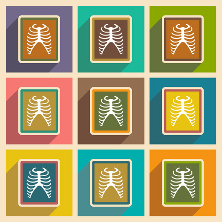 ribs: Icons of assembly X-rays of ribs in flat style