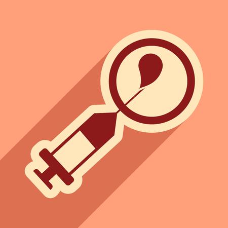 penetracion: icono de plano con larga sombra de la inseminación artificial