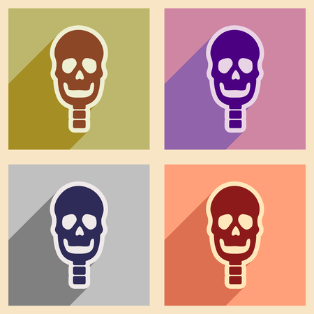 clavicle: Set flat icons with long shadow human skull