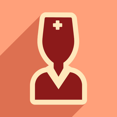 obstetrician: flat icon with long shadow obstetrician doctor