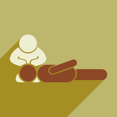 chest compression: Modern flat icon with long shadow man CPR Illustration