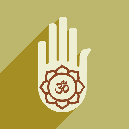 two point: Modern flat icon with long shadow hand sign of om