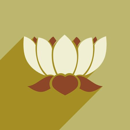 heal new year: Modern flat icon with long shadow Indian lotus Illustration