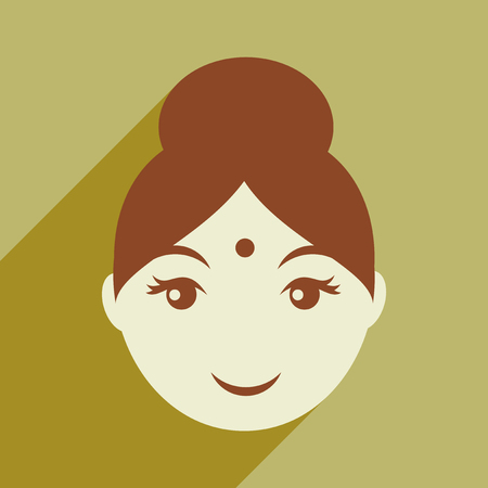 india culture: Modern flat icon with long shadow Indian girl