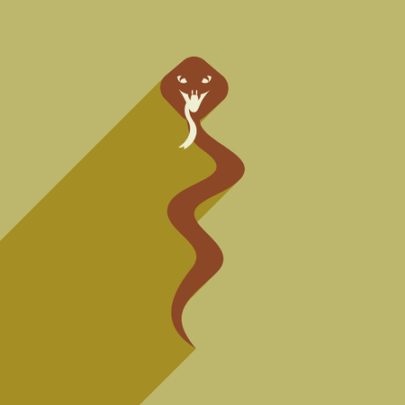 hiss: Modern flat icon with long shadow Indian cobra