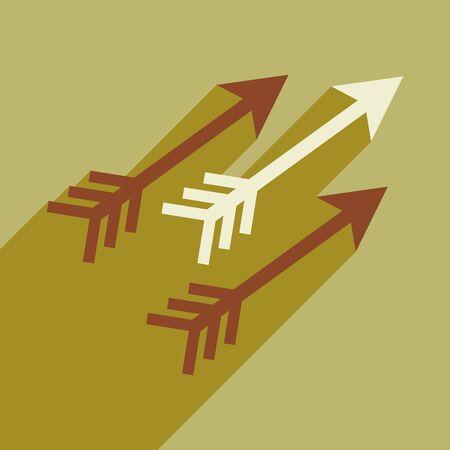 arco y flecha: icono plana moderna con una larga sombra flechas indias