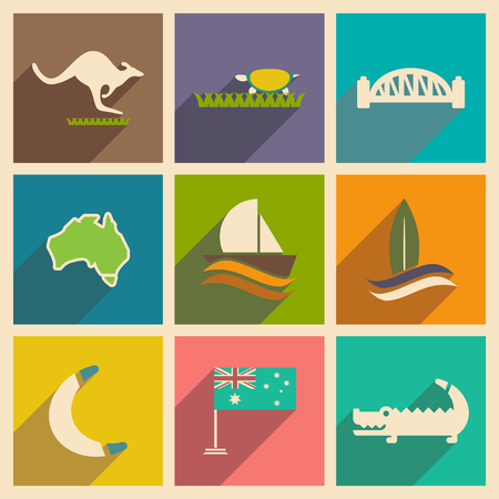 australian culture: Set of flat icons with long shadow Australian