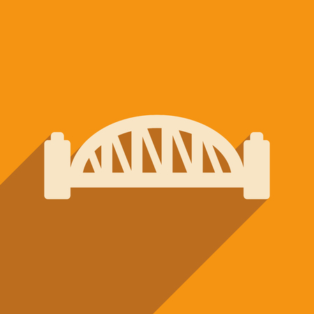 harbour: flat icon with long shadow Sydney Harbour Bridge Illustration
