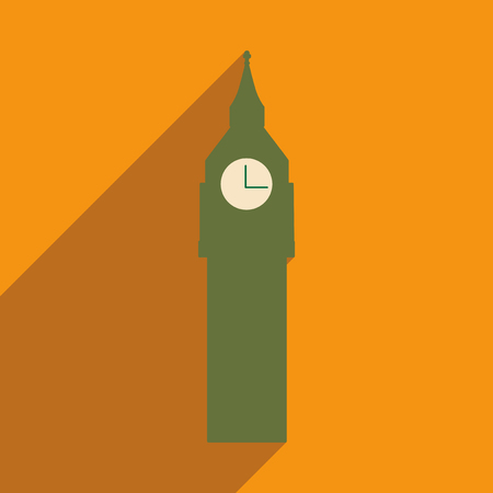 british culture: flat icon with long shadow big Ben