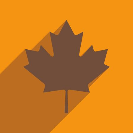 maple leaf: flat icon with long shadow Maple Leaf Illustration