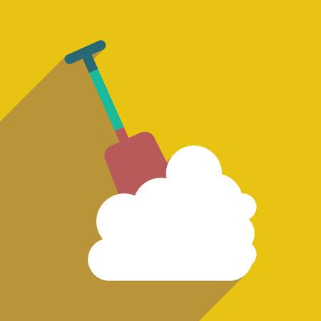 snowdrift: flat icon with long shadow snowdrift shovel