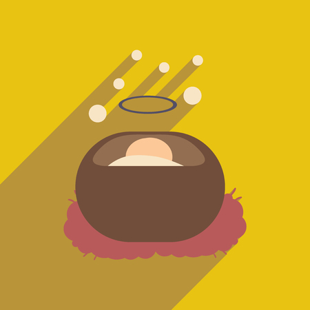 devout: flat icon with long shadow Jesus in manger Illustration