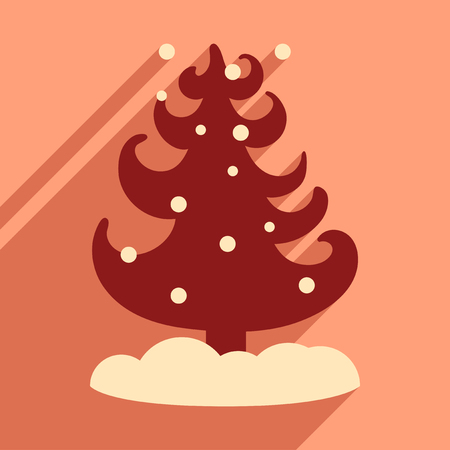 complimentary: flat icon with long shadow tree snowflakes Illustration