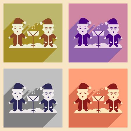 carols: Set of flat icons with long shadow children sing carols