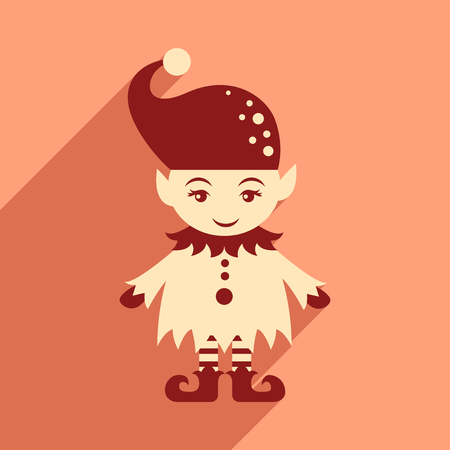 gnome: flat icon with long shadow christmas gnome Illustration