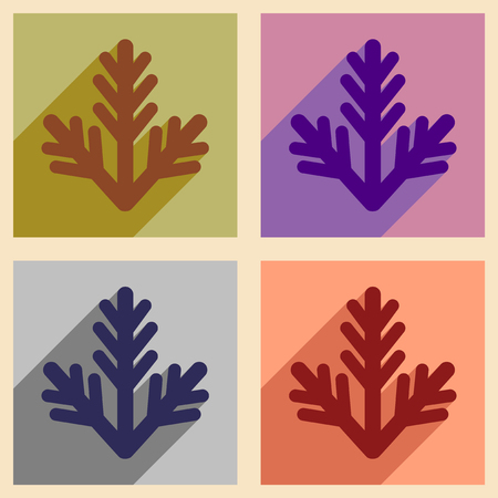 furtree: Set of flat icons with long shadow fur-tree branch