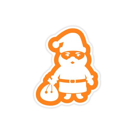 paper sticker on white background Santa Claus Illustration