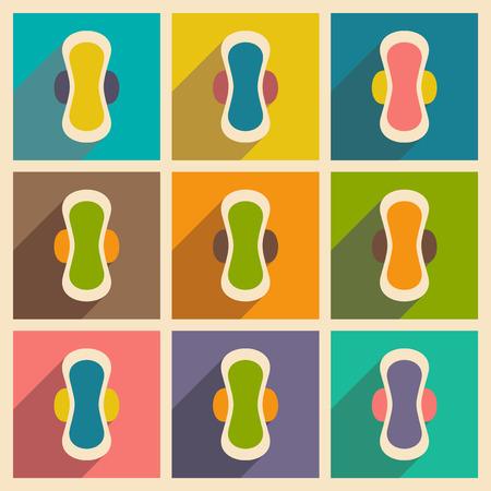 sanitary napkin: Flat with shadow concept and mobile application sanitary napkin Illustration