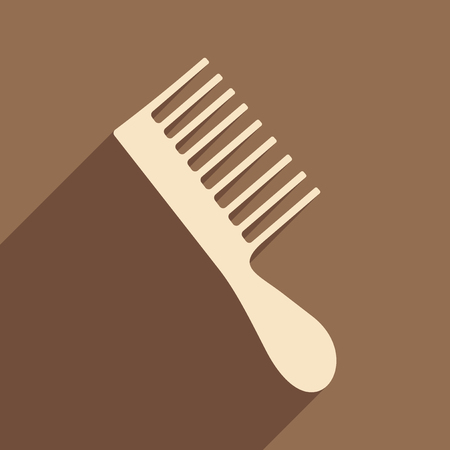 hair brush: Flat with shadow icon and mobile application hair brush Illustration