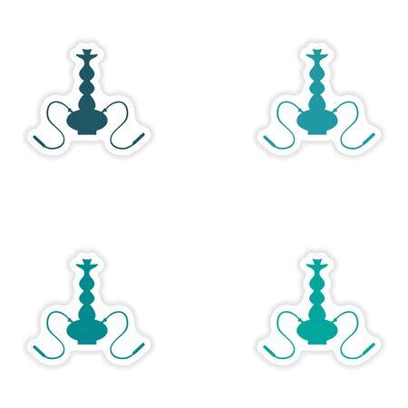 personal ornaments: assembly realistic sticker design on paper hookah shisha Illustration