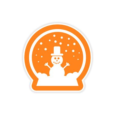 snow white: paper sticker on white background snowman in snow globe Illustration
