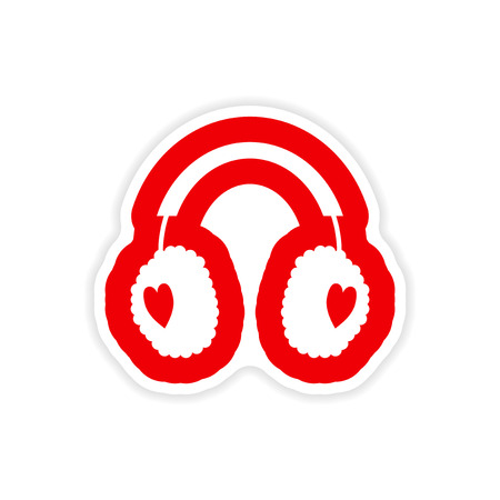 warmers: paper sticker on white background earmuffs hearts