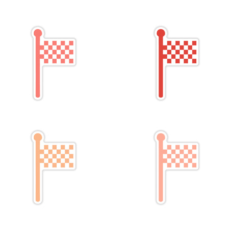 racing checkered flag crossed: assembly realistic sticker design on paper finish